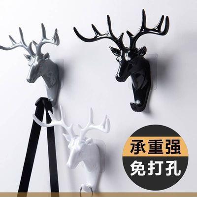 【招财】鹿角挂钩欧式家居衣帽钩墙面创意多功能无痕免打孔置物架