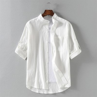 65453/短袖衬衫男士夏季薄款中国风棉麻休闲衬衣宽松大码潮牌棉麻白寸衫