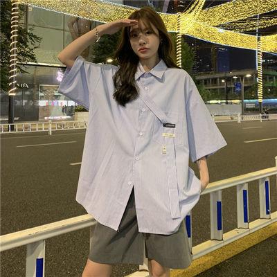 日系风格穿搭韩版港风外套女衬衣薄款盐系穿搭夏条纹短袖衬衫
