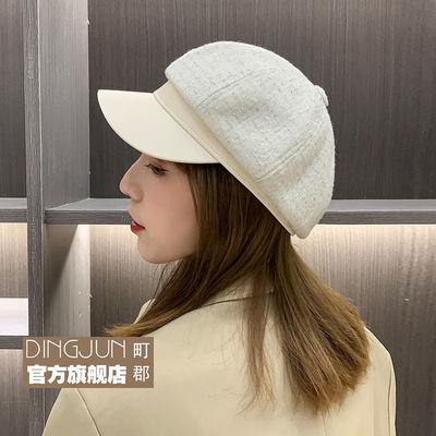 77225/亮片画家帽鸭舌八角帽小香风贝雷帽女士秋冬韩版时尚英伦复古蓓蕾