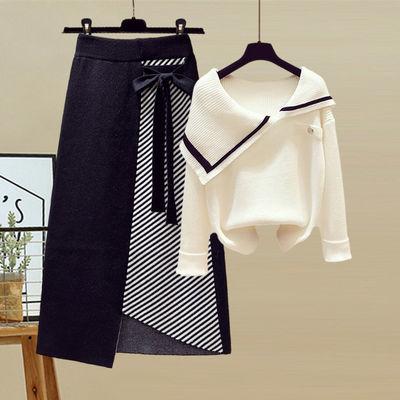 69973/大码女装秋季套装女2021新款显瘦不规则条纹毛衣中长款裙子两件套【15天内发货】