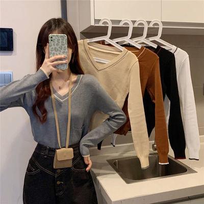 71925/2021年韩版新款温柔风保暖套头百搭上衣修身v领长袖针织t恤女秋季