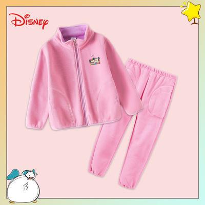 Disney/迪士尼女童摇粒绒套装中大童上衣裤子宝宝保暖加厚两件套