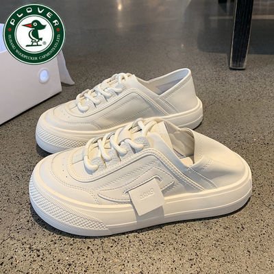 79097/PLOVER啄木鸟小白鞋女2021新款爆款学生韩版百搭两穿皮面白色鞋子
