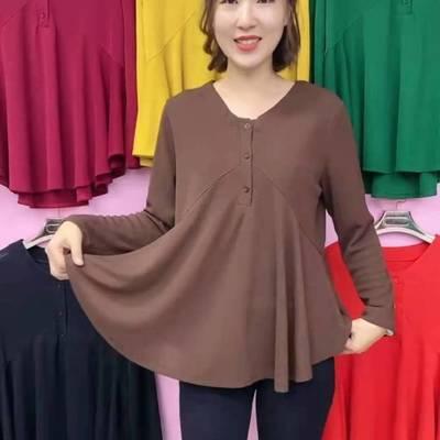 78519/洋气妈妈长袖花瓣衫 2021年秋季女士t恤 纯色宽松遮肚减龄打底衫