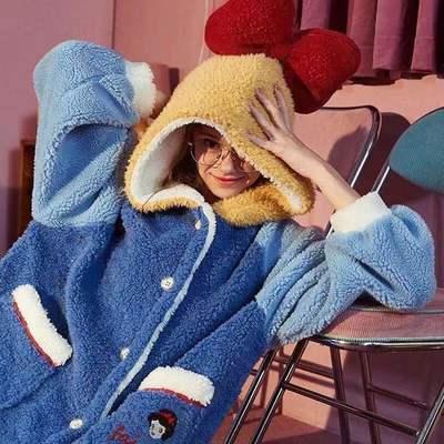 白雪公主睡衣女秋冬季加厚可爱中长款连帽睡袍法兰绒睡袍家居服