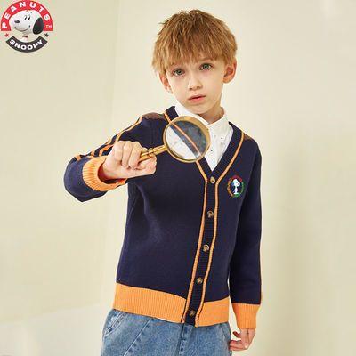 史努比男童开衫毛衣外套秋装2021新款中大童针织上衣儿童洋气春秋