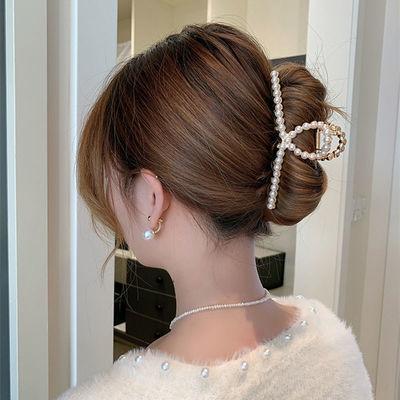 66173/【大喜专享】合金珍珠水钻发夹抓夹百搭发饰后脑勺发卡边夹