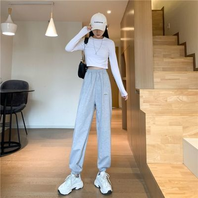 2021秋季新款运动裤子女韩版宽松显瘦学生休闲裤女高腰直筒哈伦裤