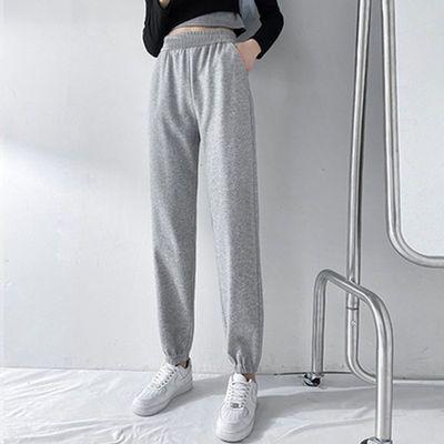 72513/裤子女2021新款大码宽松学生百搭显瘦长裤束脚纯色运动休闲九分裤