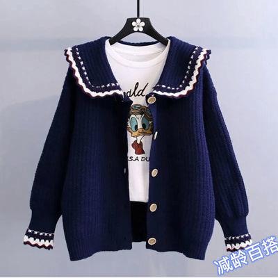 74883/娃娃领毛衣开衫外套女2021年秋冬新款毛衣宽松慵懒风减龄针织开衫