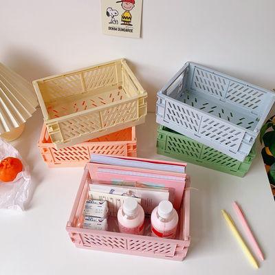78963/韩国ins折叠大号塑料收纳盒学生桌面整理手帐胶带文具置物篮