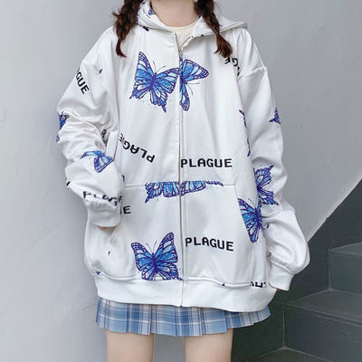 67000/加大码宽松女卡通薄卫衣春秋新款设计感高街小众韩版开衫拉链外套