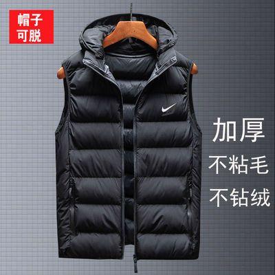 73312/秋冬季新款男士羽绒棉马甲外套背心马夹大码加厚保暖连帽坎肩外穿