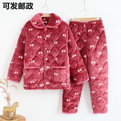 72867/冬季妈妈夹棉睡衣女士法兰绒三层加厚珊瑚绒家居服中老年大码套装