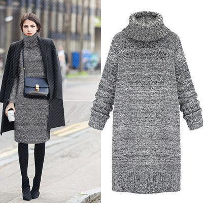 2021秋冬新款高领加厚宽松纯色中长款毛衣女式中长款外套针织衫
