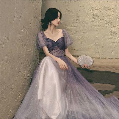 75221/星空紫晚礼服2021新款优雅气质宴会学生艺考平时可穿连衣裙女长款