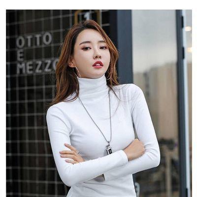 新款2021女士打底衫卫衣春秋长袖高领显瘦百搭纯色内衬外套