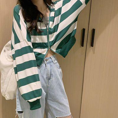 卫衣女短款条纹宽松长袖秋季连帽薄款韩版百搭洋气流行小众上衣潮