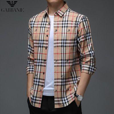 65122/奇 阿玛尼 亚 长袖衬衫男秋季新款中青年时尚修身大码B家格子衬衣