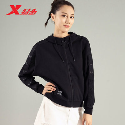特步运动服女2021春季新款针织连帽保暖外套980328940322
