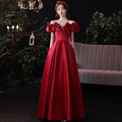 75231/一字肩新娘敬酒服裙2021新款优雅气质结订婚性感显瘦晚礼服女长款