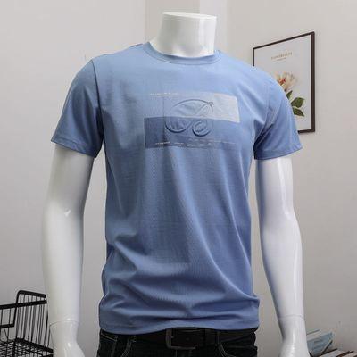 64702/冰丝光棉短袖t恤男装夏季2021新款冰感莫代尔潮牌潮流ins印花半袖