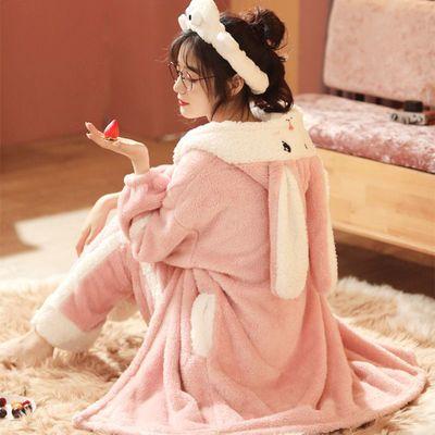 70777/睡衣女秋冬珊瑚绒大码睡袍女法兰绒冬天睡裙女可外穿新款可爱套装