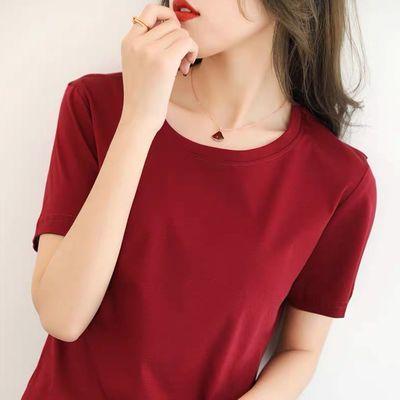69765/X女装2021新款潮黑白色短袖t恤女春夏季圆领百搭宽松短款上衣