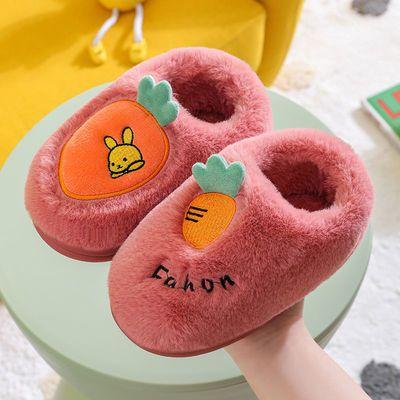 儿童宝宝棉鞋冬季可爱卡通居家男女童小孩防滑软底包跟厚毛绒棉鞋