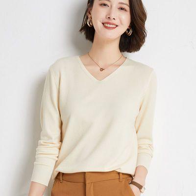 早秋新款针织衫毛衣女长袖宽松气质V领内搭打底羊毛衫薄款套头