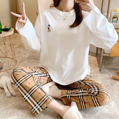 66348/睡衣家居服套装女式春秋可外穿大码长袖宽松舒适印花熊格子圆领棉