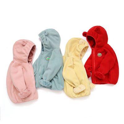 新款童装男女童摇粒绒外套秋冬装中小童宝宝洋气加绒连帽上衣外穿