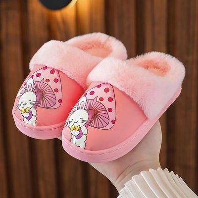 儿童棉拖鞋男女童卡通新款秋冬季PU皮防水保暖宝宝室内防滑棉拖鞋