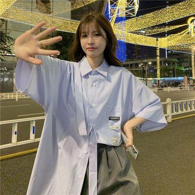 短袖衬衫女夏季2021韩系条纹衬衣宽松薄款五分袖上衣设计感小众潮
