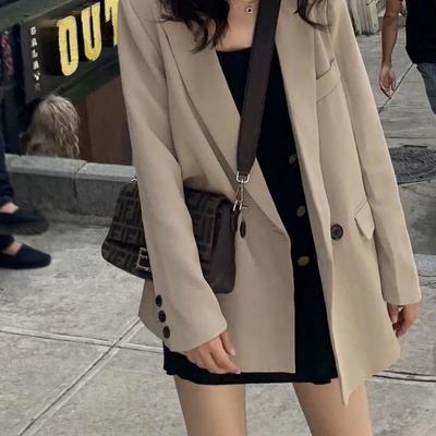65141/黑色西装外套女2021秋季新款宽松休闲上衣外套潮ins春秋季小西服