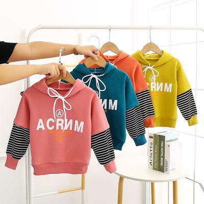 兒童衛衣男童女童寶寶春秋裝2021新爆款純棉長袖帶帽洋氣POLO衫潮