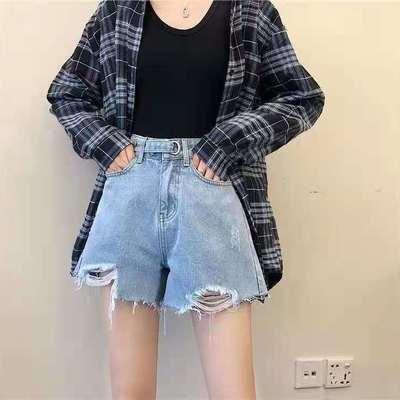 63657/网红高腰牛仔短裤女2021夏季新款韩版宽松显瘦百搭阔腿a字热裤薄