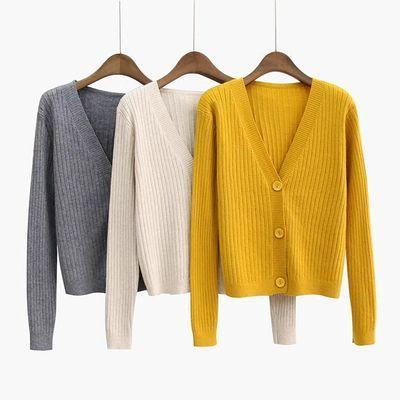 71208/2021春秋V领针织开衫女长袖外套短款大码修身上衣毛衣小披肩外搭