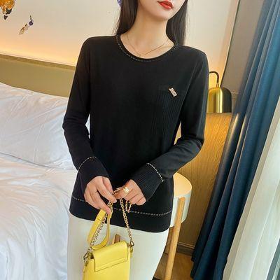 打底衫毛衣女2021新款长袖宽松印花针织衫时尚洋气学生潮简约韩版
