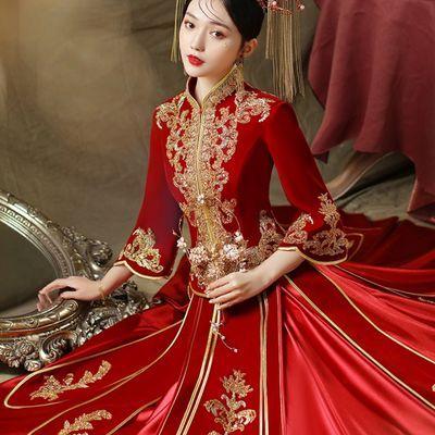 74437/丝绒秀禾服2021新款春夏结婚新娘礼服女婚纱中式嫁衣中国风秀和服