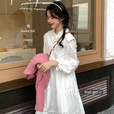 71547/网红白色仙女连衣裙薄款早春秋冬新款温柔风法式雪纺防晒长袖长裙