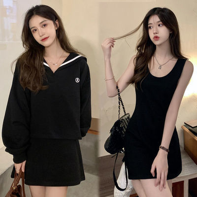 78987/海军领学院风长袖卫衣时尚套装2021秋季新款黑色背心裙子两件套女