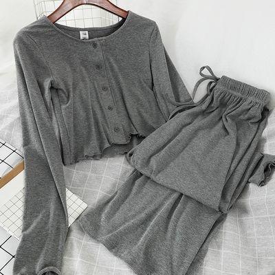 74315/韩系新品修身短款T恤长袖上衣阔腿休闲长裤网红款秋装两件套女装