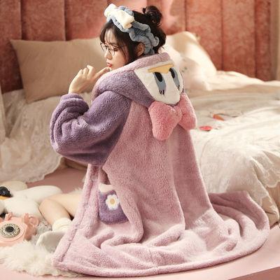 76197/女秋冬睡袍珊瑚绒唐老鸭睡衣女法兰绒可外穿长款睡裙冬天新款睡衣