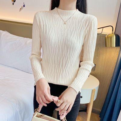 打底衫女新款长袖薄款外穿半高领洋气秋冬时尚纯色修身毛衣针织衫