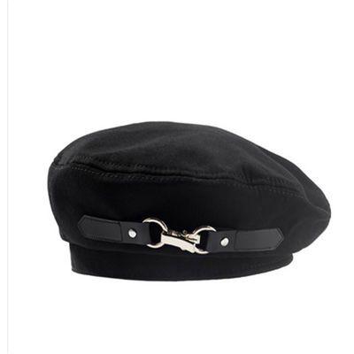 76666/黑色贝雷帽女皮扣设计款暗黑日系小众平顶帽英伦百搭复古画家帽潮