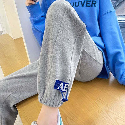 77835/灰色运动裤女夏休闲宽松高腰束脚2021新款韩版学生春秋薄款卫裤潮