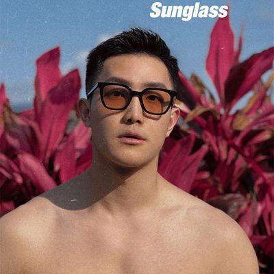 66085/韩版茶色墨镜男士开车ins网红大脸街拍潮流防紫外线复古太阳眼镜