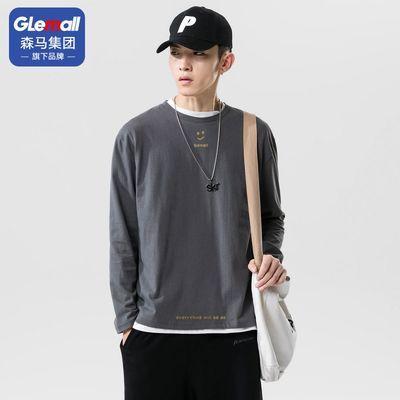 72900/GleMall男士长袖t恤潮流韩版日系上衣服百搭宽松打底体恤